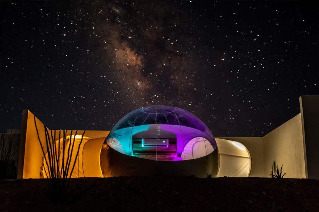 Bubble tent at night, Basecamp Terlingua.