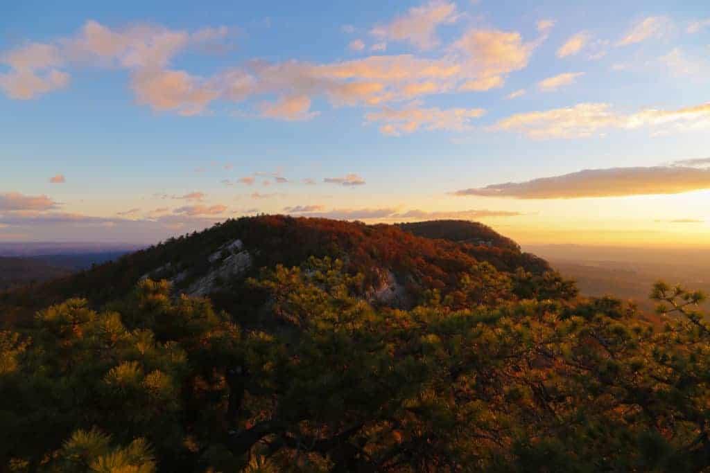 Mountain peak in The Mohonk Preserve at sunrise, Shawangunk Ridge, Ulster County, New York, USA