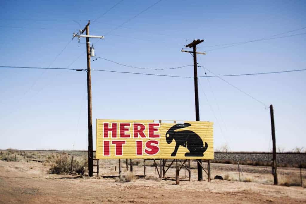 Jack Rabbit Trading Post billboard on Route 66.