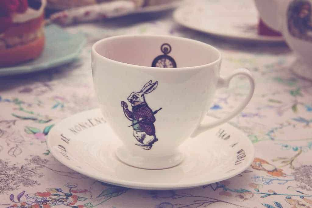 Rabbit teacup and saucer from Mrs Moore's Alice in Wonderland vintage collection