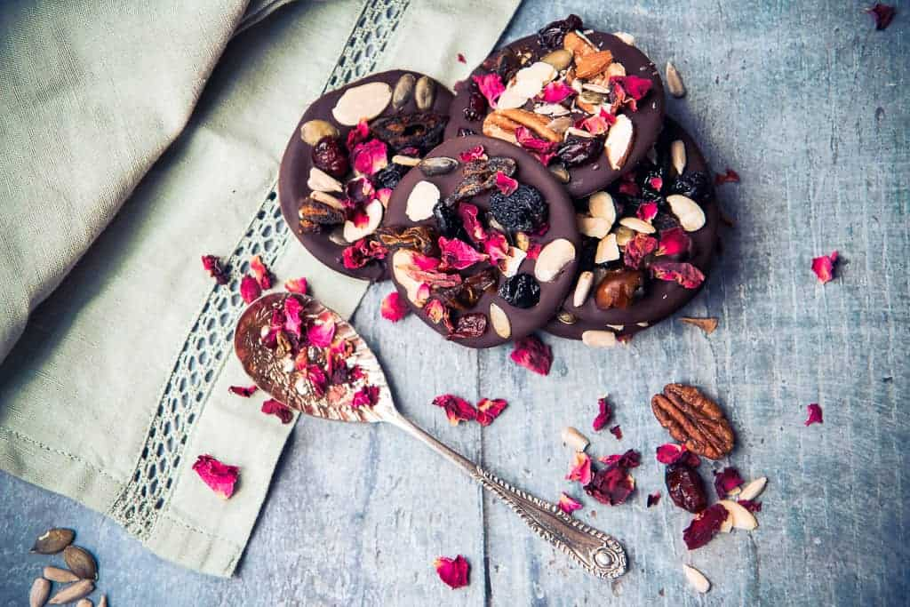 Dark chocolate fruit and nut thins with edible rose petals