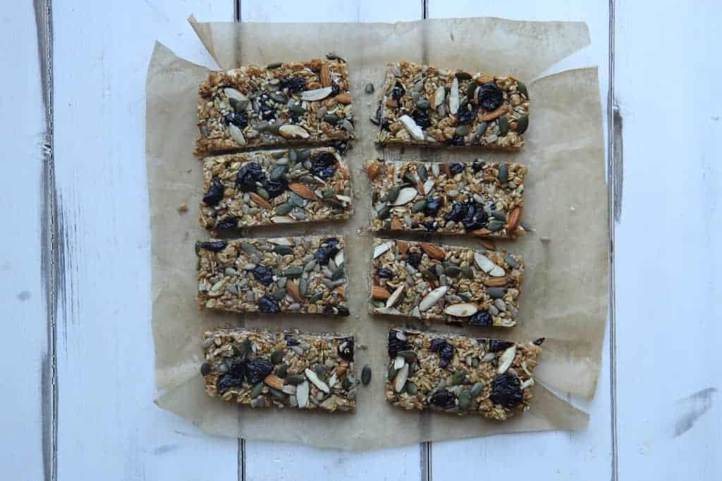 Overhead shot of 8 granola bars