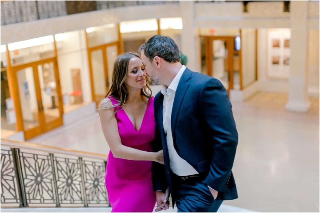 great stairs at The Rookery Building Engagement Session