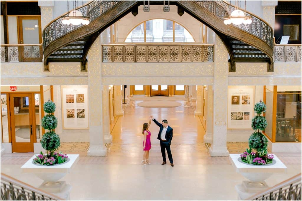 The Rookery Building Engagement Session spectacular staircase