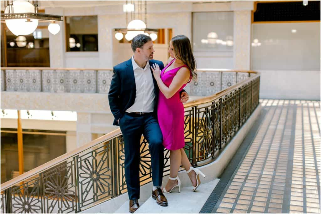romantic posing at The Rookery Building Engagement Session