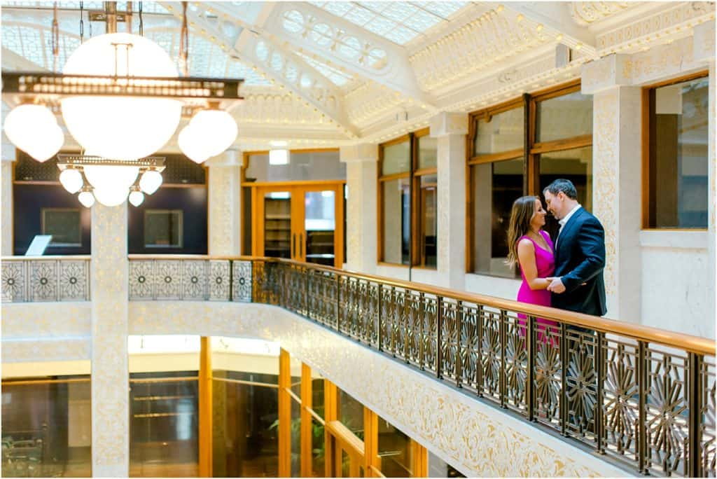 engagement photos at The Rookery Building in Chicago