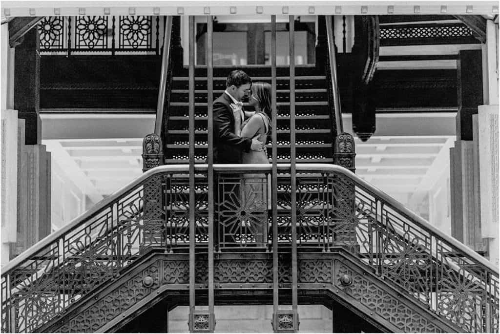 Chicago engagement session Rookery building black & white