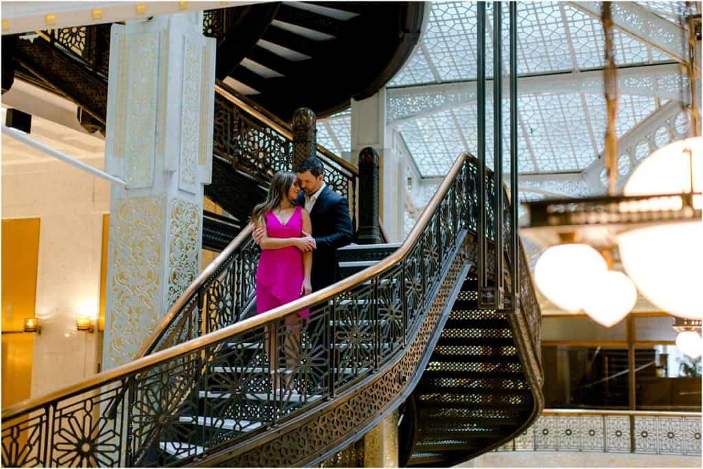 Chicago Board of trade engagement session at The Rookery Building Engagement Session