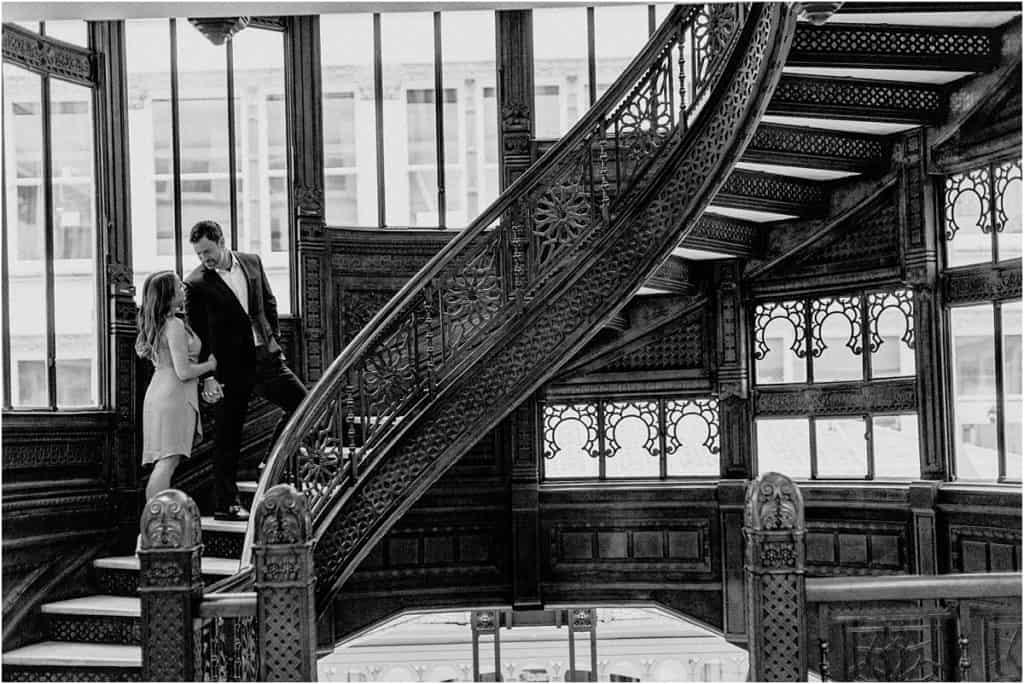 The Rookery Building Engagement Session by Bozena Voytko best Chicago wedding photographer, best Chicago engagement session locations