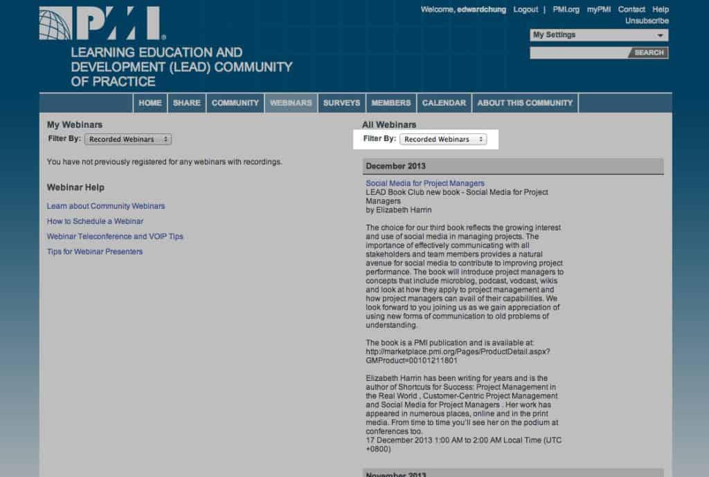 finding webinars for claiming PDUs
