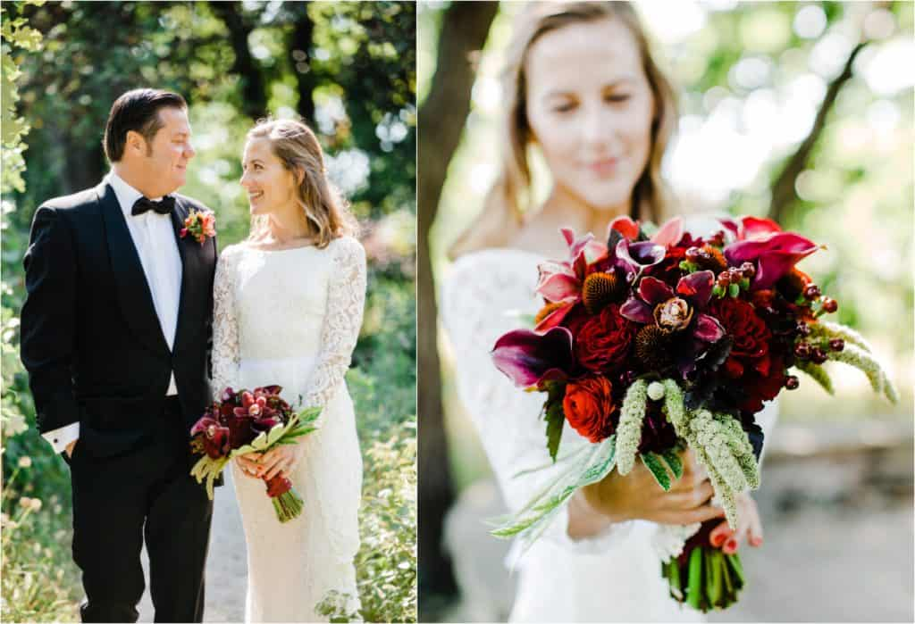 wedding photography in Chicago bride with flowers, wedding couple looking at each other