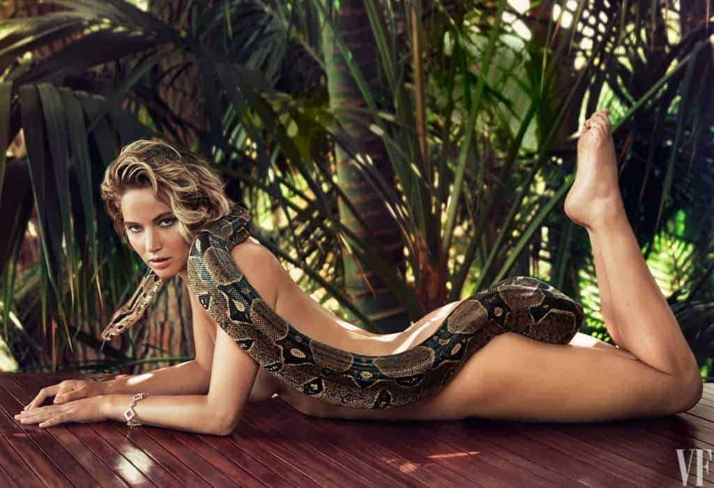 Jennifer Lawrence with a snake, shot by Patrick Demarchelier for Vanity Fair