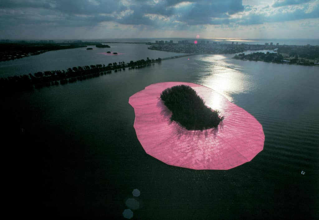 Pink Islands. Christo and Jeanne-Claude, Surrounded Islands, Biscayne Bay, Greater Miami, Florida, 1980-83.