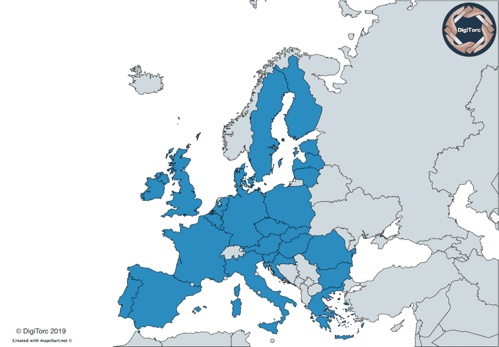 Countries of the European Union highlighted on a map on western Europe