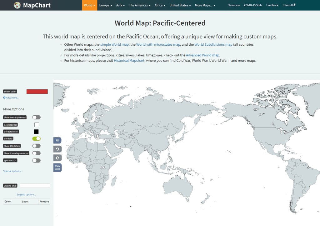 pacific centered world map page on MapChart