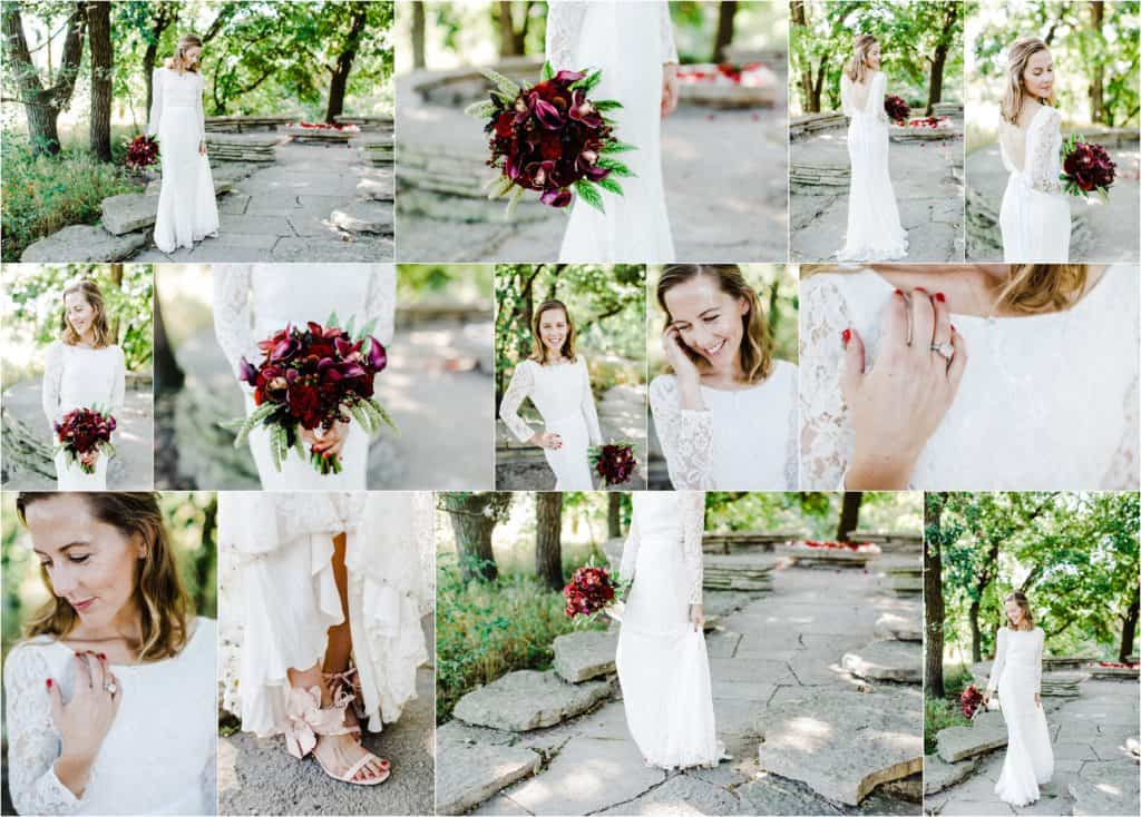 bridal portraits, bridal inspiration, Chicago wedding photographer at Alfred Caldwell Lily Pool, wedding dress aideas