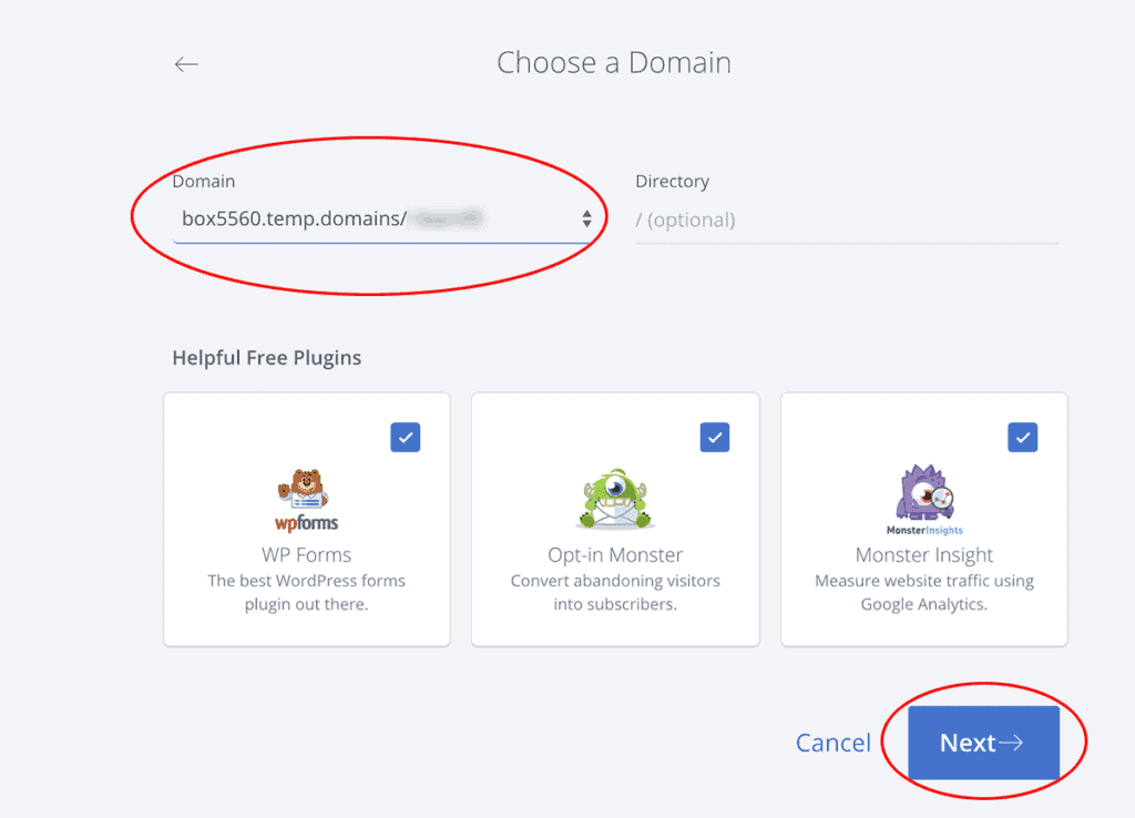 Bluehost Choose a Domain