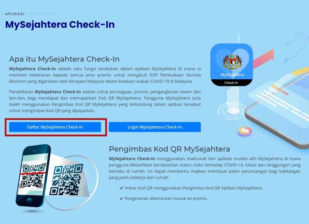 mysejahtera check in code
