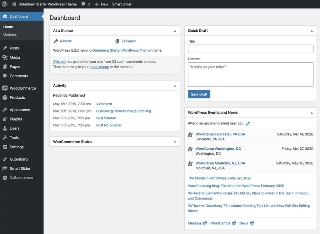 WordPress Admin UI Dashboard 2020