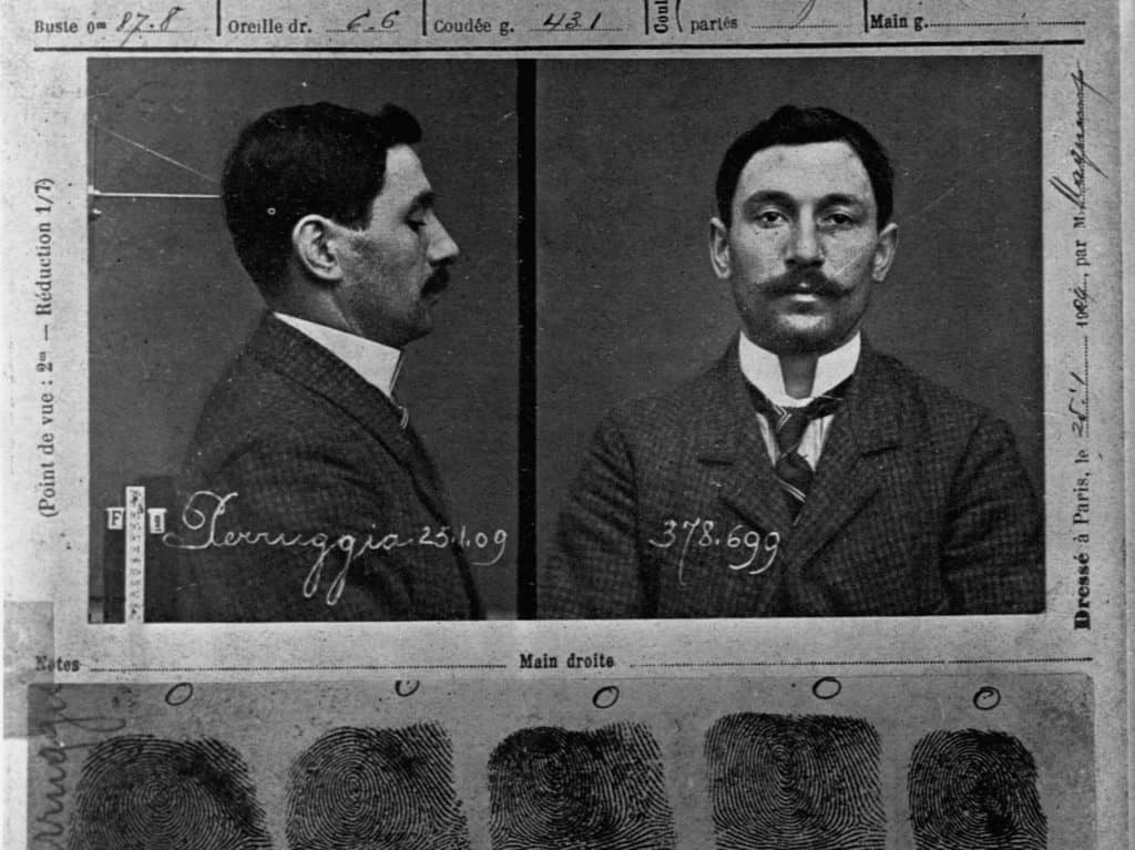 Mug shot of Vincenzo Peruggia, the man who stole the Mona Lisa from the Louvre Museum in Paris.
