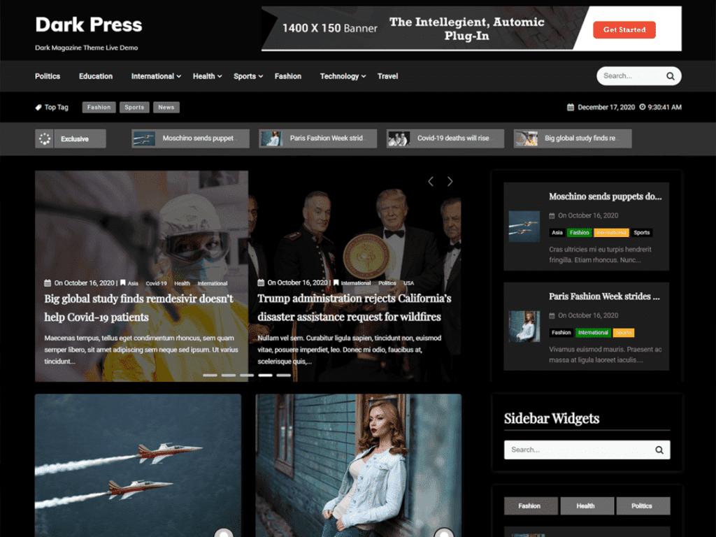 Dark Press is a magazine theme