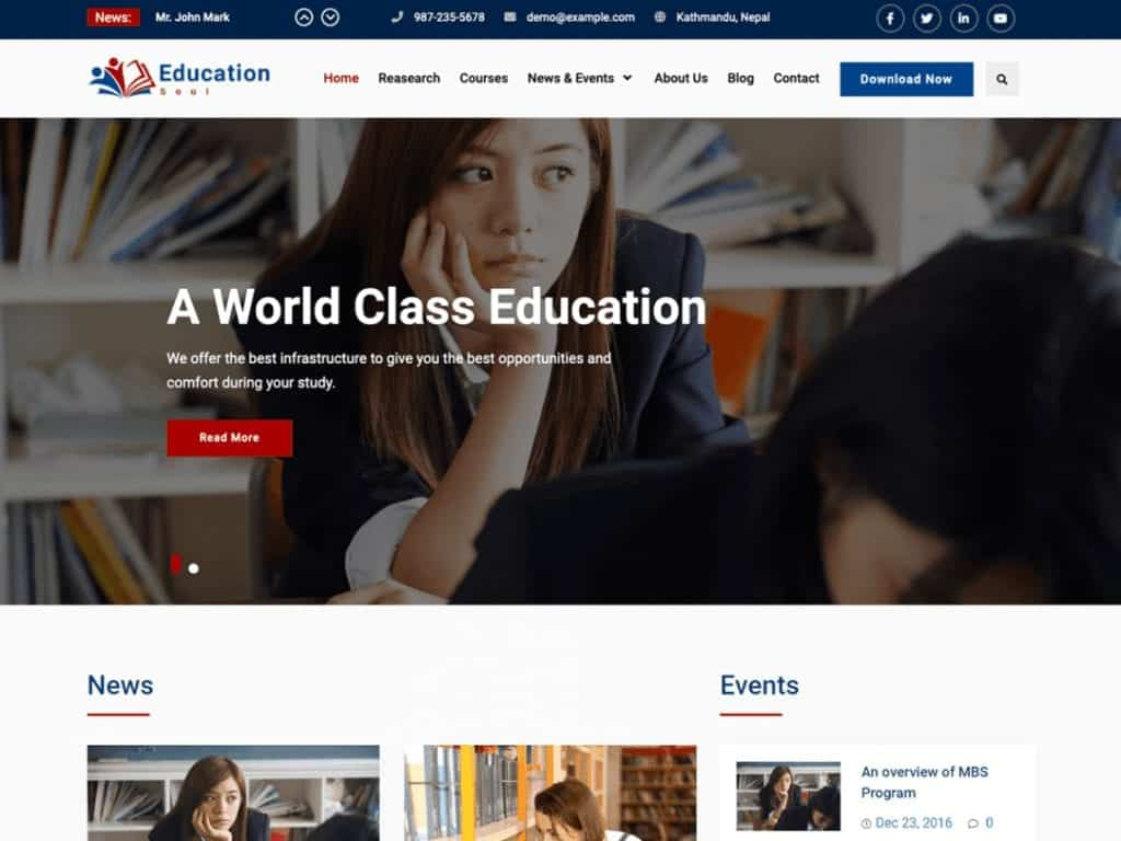 Education Soul is a Simple, Clean and Elegant Education WordPress Theme
