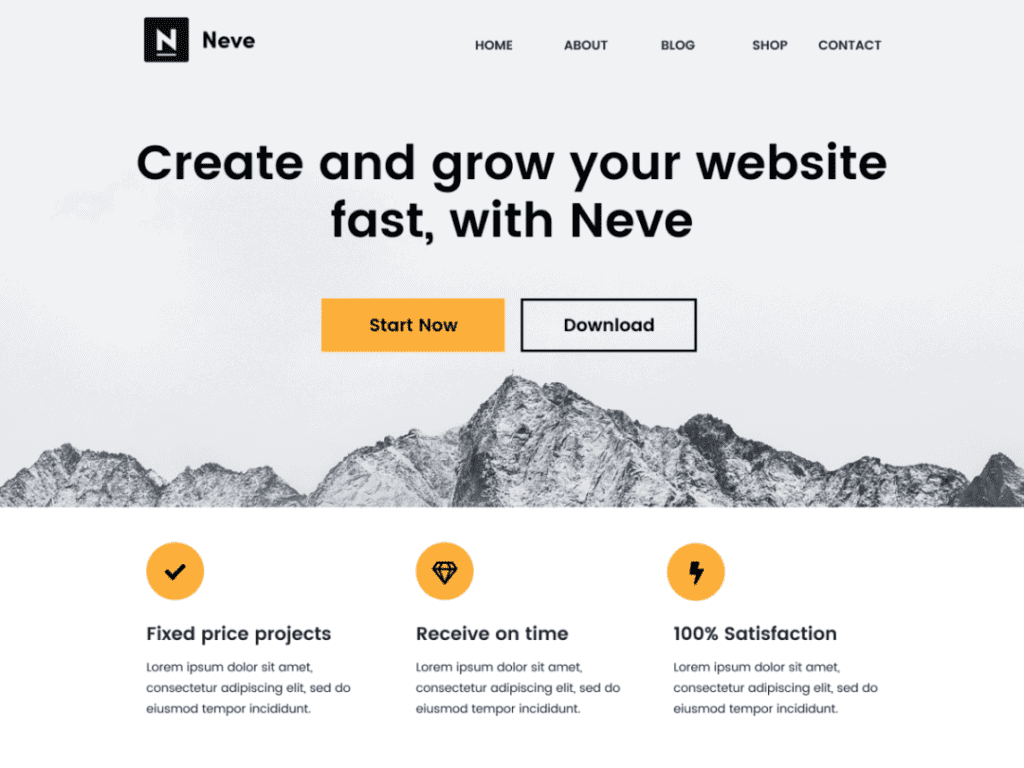 neve one page theme free