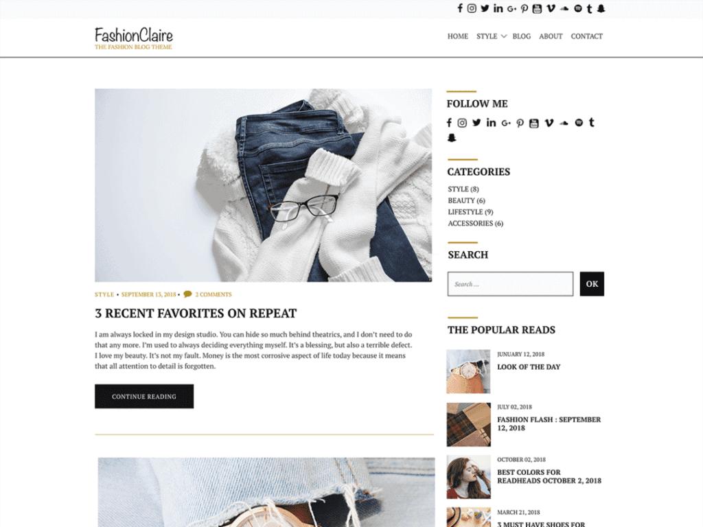 fashionclaire free fashion wordpress theme