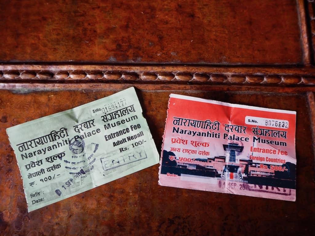 Eintrittskarten für das Narayanhiti Palace Museum, wo früher der König von Nepal lebte