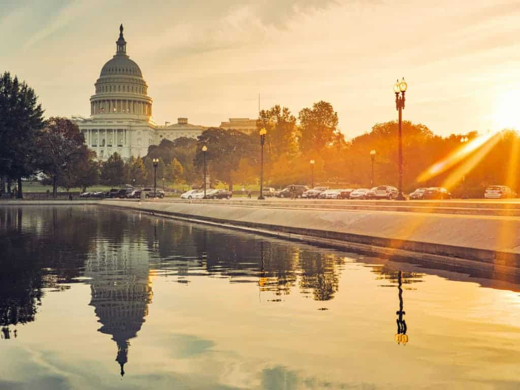 Capitol Building and Reflecting Pool in Washington, DC.