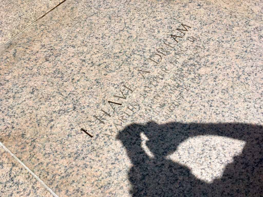 "Carving marking the spot of Martin Luther King, Jr.'s ""I Have a Dream"" speech, given August 28, 1963, outside the Lincoln Memorial in Washington, DC."