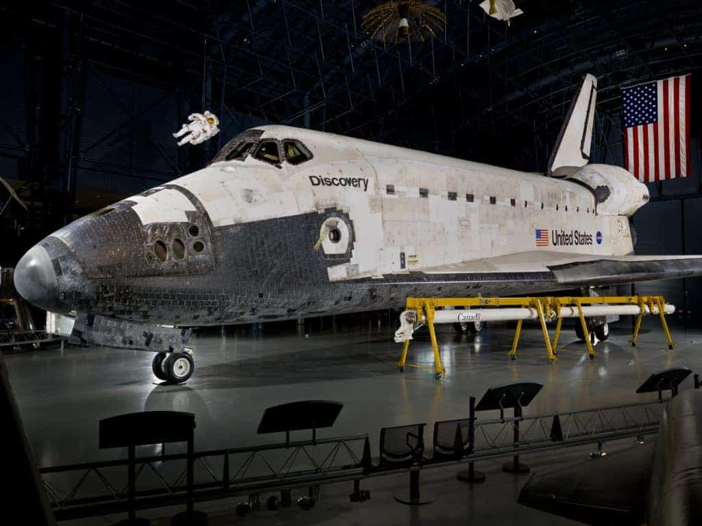 Space Shuttle Discovery on display in the James S. McDonnell Space Hangar at the National Air and Space Museum's Steven F. Udvar-Hazy Center.