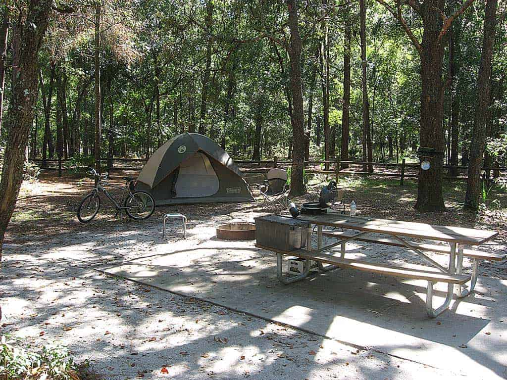 Campsite at Kelly Park campground at Rock Springs.