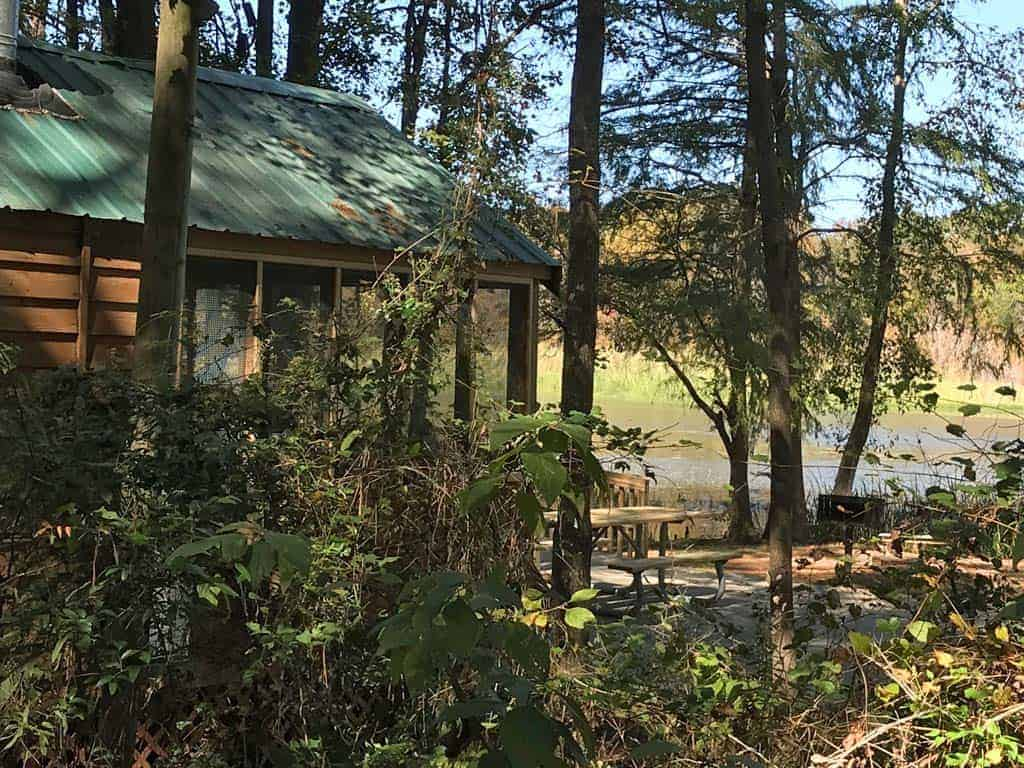 Lakefront cabin at Three Rivers State Park.