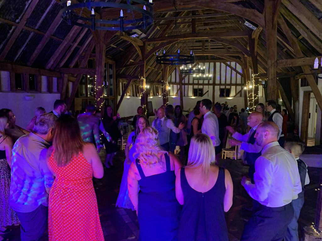 Kelly & Glenn's wedding reception at Smeetham Hall Barn with Imagine Wedding & Party Entertainment
