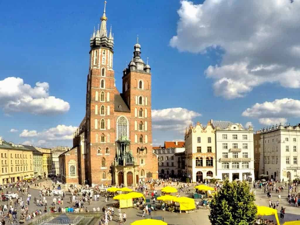 krakow old town summer clouds blue