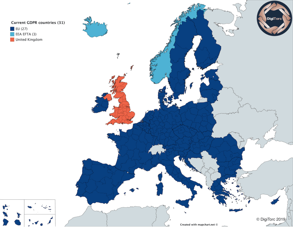 Map of Europe showing both GDPR and EEA EFTA countries. These are the 31 countries where GDPR is automatically applied.