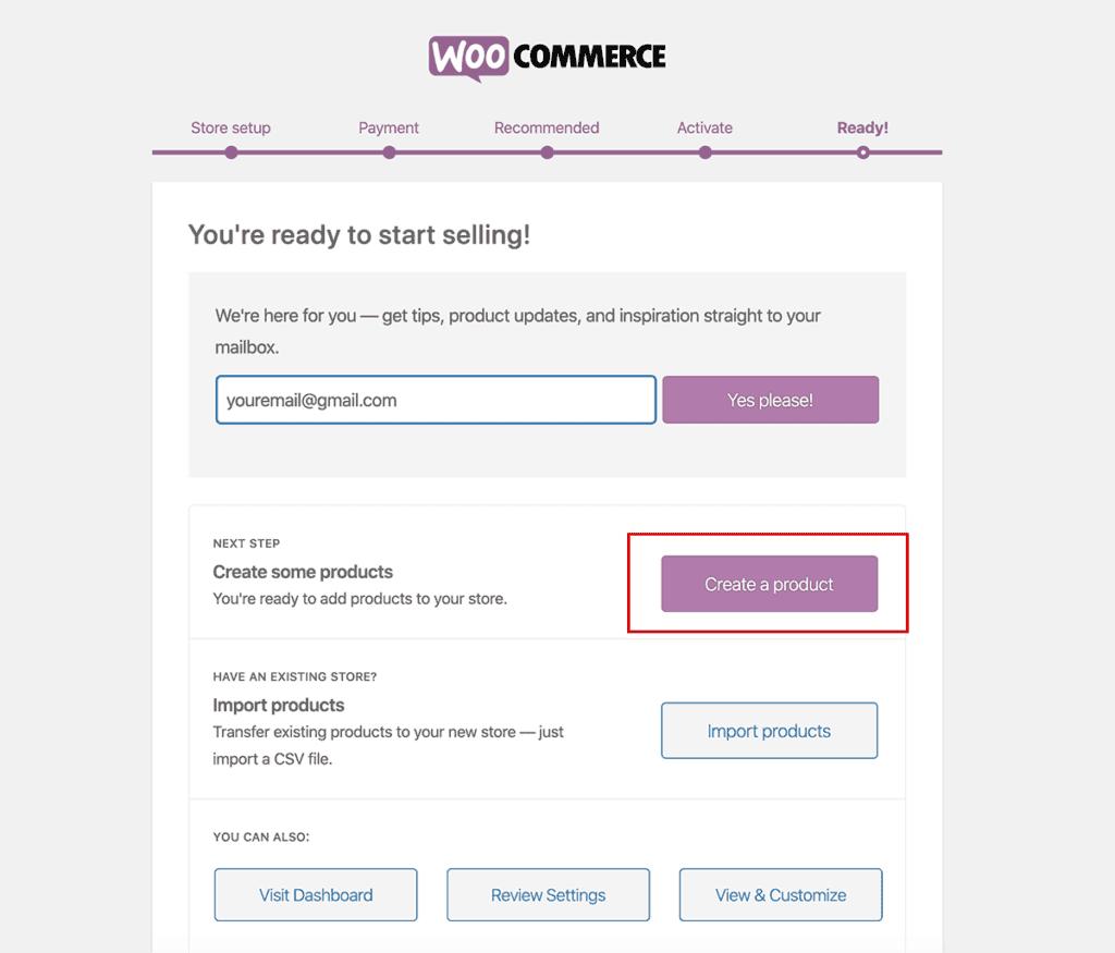 WooCommerce Ready and setup