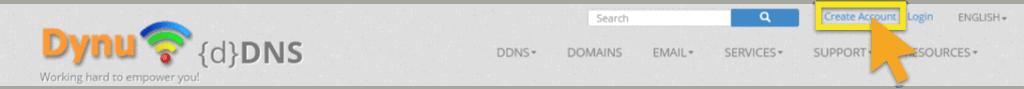 Site Web DYNU avec « Créer un compte » en surbrillance.
