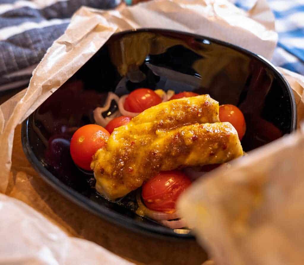 Curry Rotbarsch aus der Kochtüte