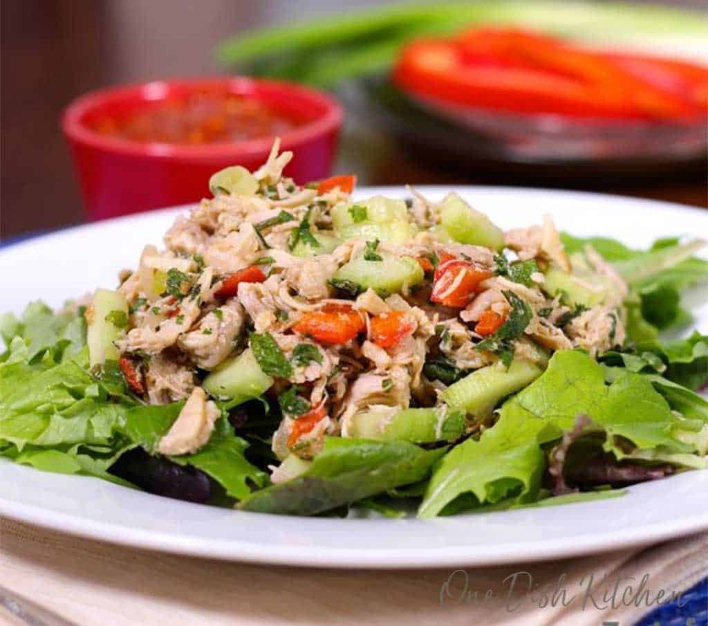 larb gai on a bed of lettuce on a white plate.