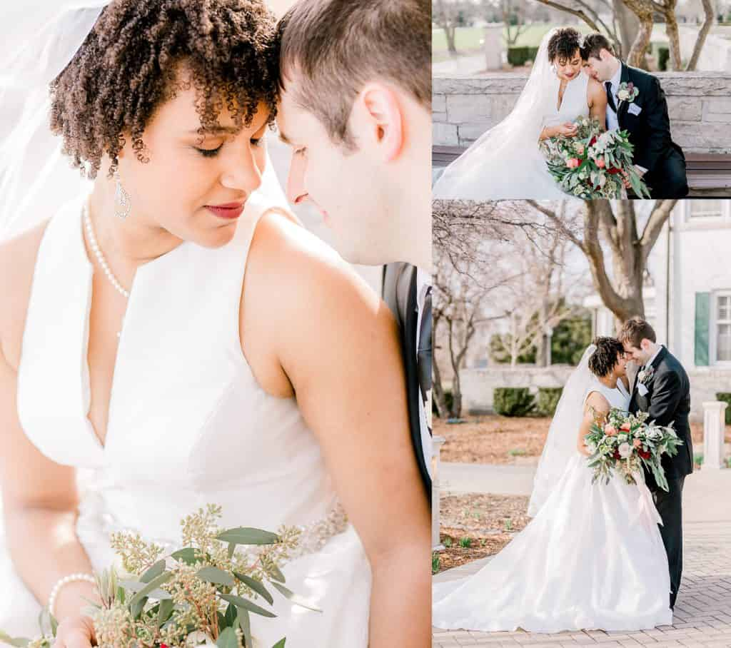 wedding couple kissing, holding each other, bride and groom smiling to each other