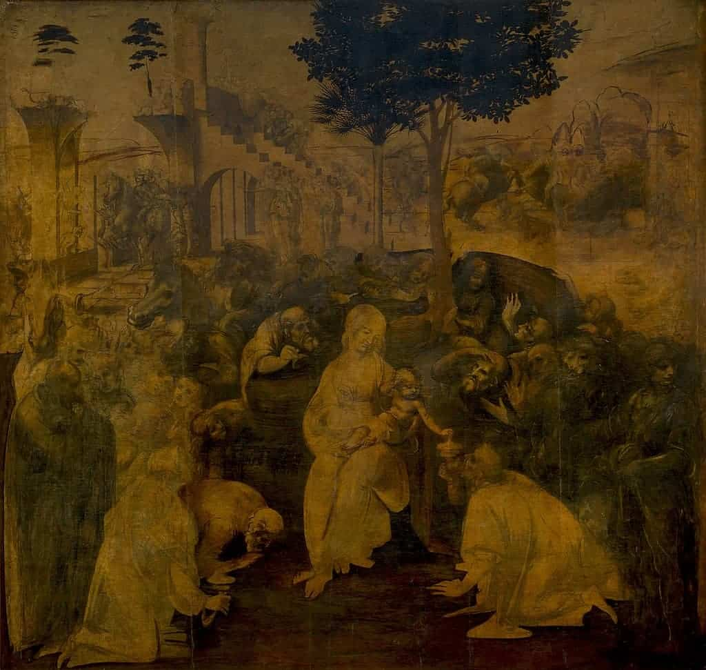 Leonardo Da Vinci, Adoration of the Magi, 1481. Unfinished Art