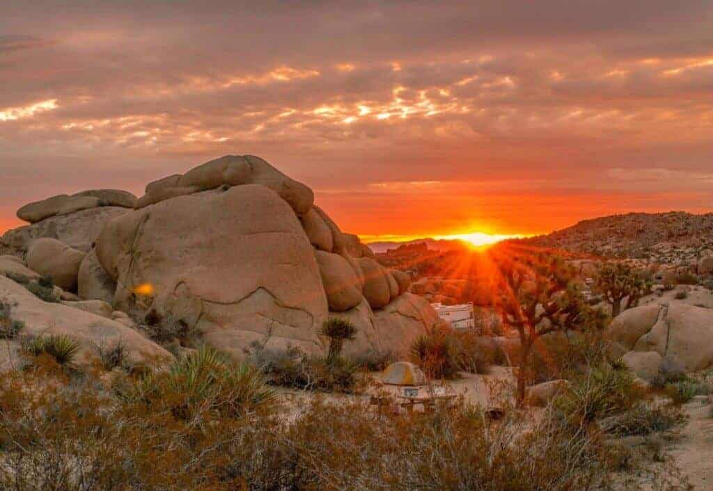 Sunrise over Jumbo Rocks Campground in Joshua Tree National Park, CA.