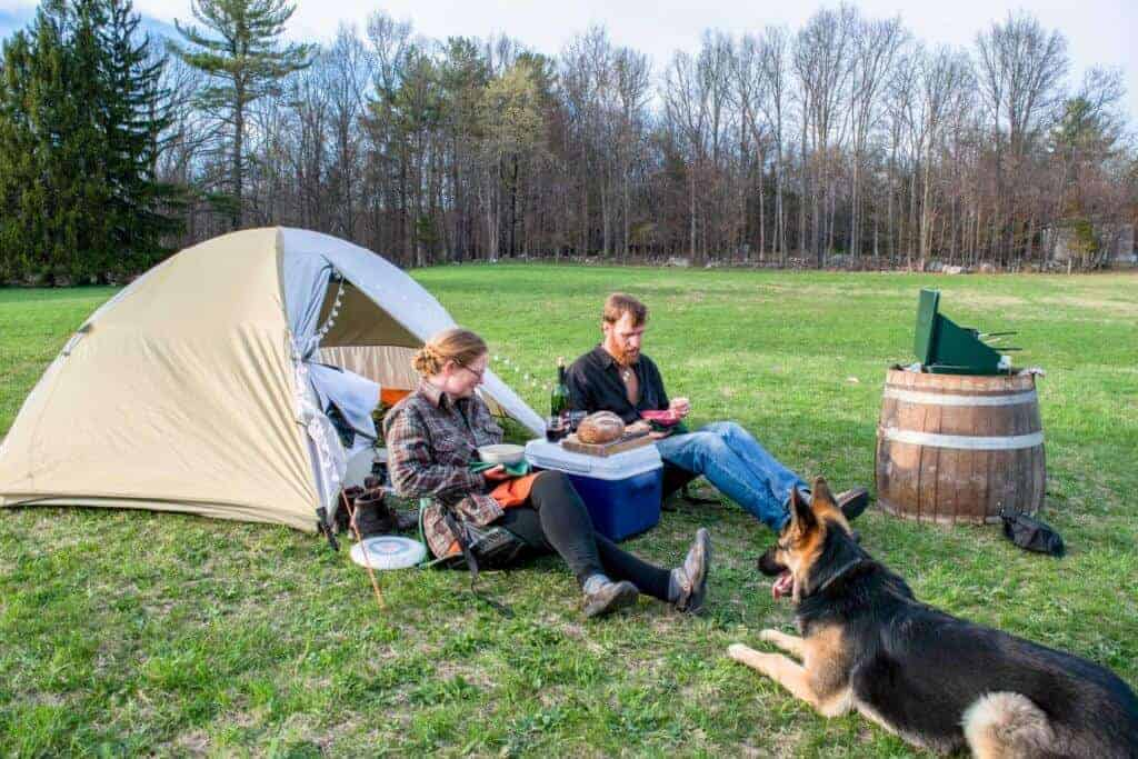 camping in the field behind Robibero Winery in New Paltz, New York