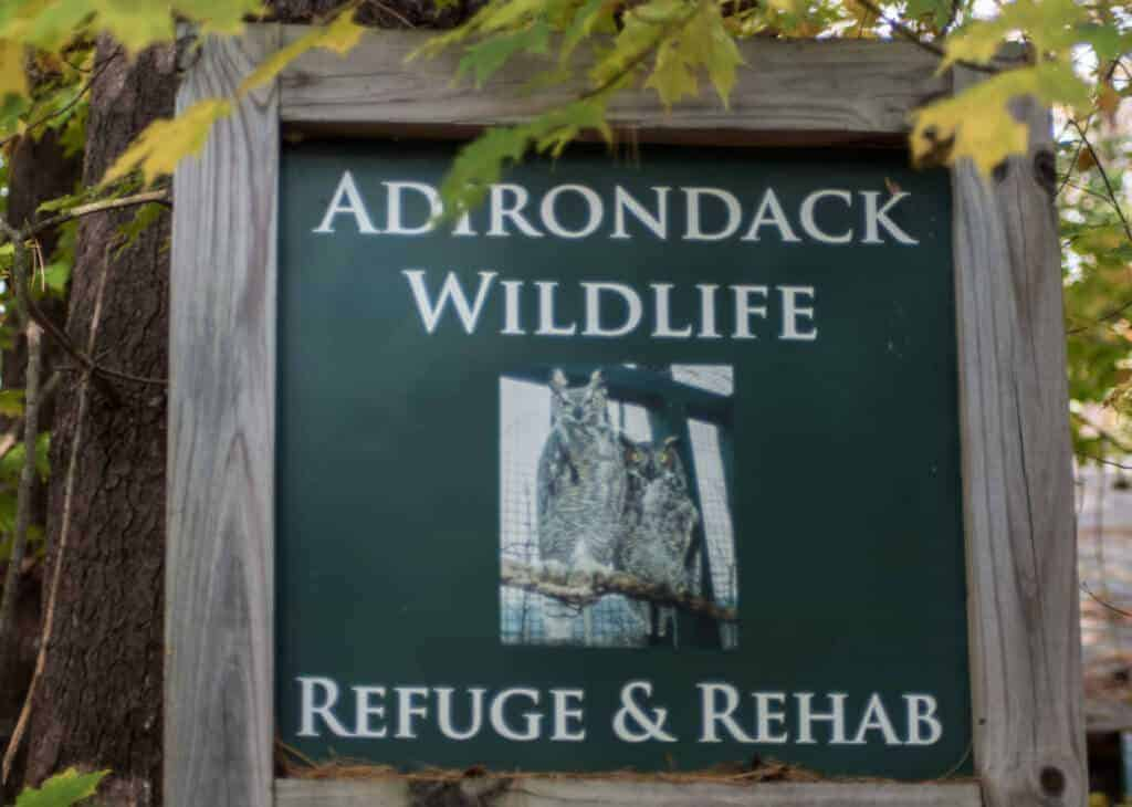 Adirondack Wildlife Refuge sign