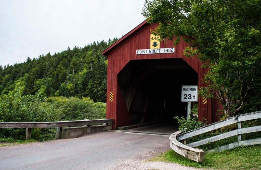 The covered bridge in Point Wolfe Campground, Fundy National Park, New Brunswick, Canada.