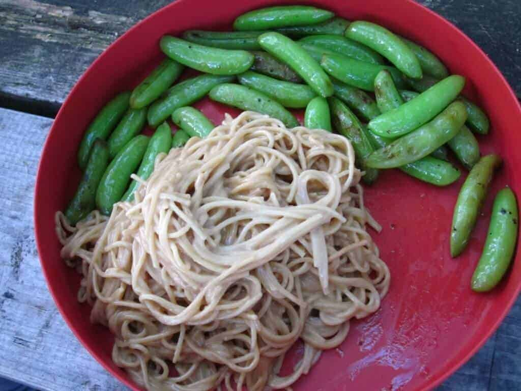 A red plastic camping plate with peanut noodles and snap peas.