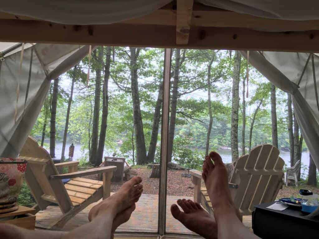 Looking through the door of a Tentrr tent in Maine.
