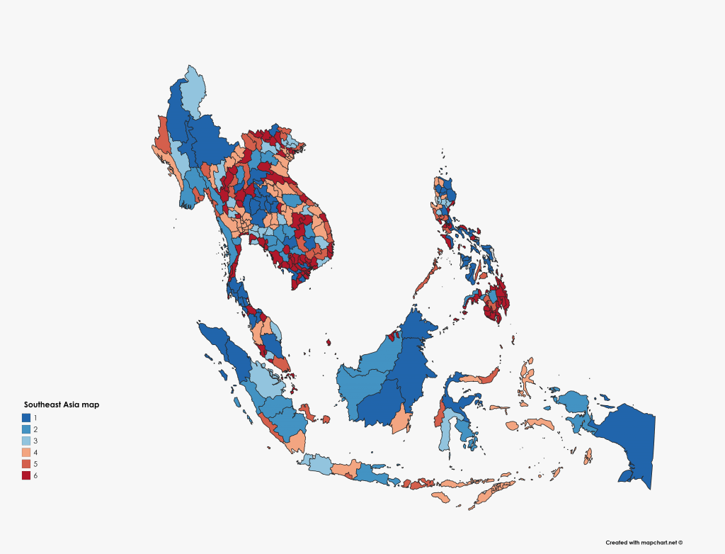 southeast asia map from mapchart